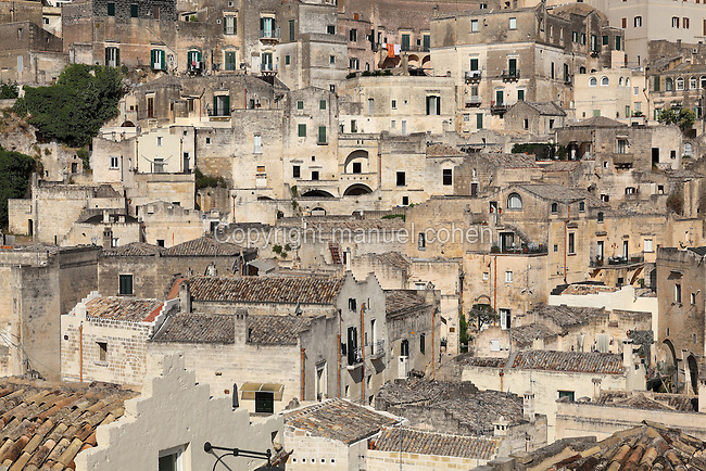 Sassi di Matera, the old part of town built on original prehistoric troglodyte dwellings, at Matera, Basilicata, Southern Italy. The Sassi are thought to be the oldest human settlement in Italy, dating back to 7000 BC. Matera is known as la Citta Sotterranea or the Subterranean City, and is listed as a UNESCO World Heritage Site. Picture by Manuel Cohen