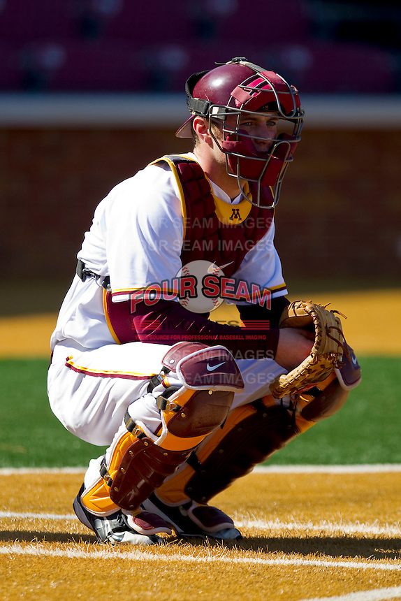 Kurt Schlangen #15 of the Minnesota Golden Gophers during fielding practice prior to the game against the Towson Tigers at Gene Hooks Field on February 26, 2011 in Winston-Salem, North Carolina.  The Gophers defeated the Tigers 6-4.  Photo by Brian Westerholt / Sports On Film
