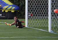 BOGOTA -COLOMBIA, 8-02-2017. German Caffa goalkeeper of Cortulua can not stop the penalty shot executed by Jorge Lozano and that is the first goal that makes Tigers in the first divisionAction game between  Tigres FC  and Cortuluá  during match for the date 2 of the Aguila League I 2017 played at Metropolitano de Techo stadium . Photo:VizzorImage / Felipe Caicedo  / Staff