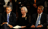 United States President Barack Obama, left, and the current Speaker of the U.S. House John Boehner (Republican of Ohio), right, sit next to Tom Foley's wife Heather, center, during a memorial service honoring former Speaker of the U.S. House Thomas S. Foley (Democrat of Washington) in the U.S. Capitol in Washington, D.C. on October 29, 2013.   Foley represented Washington's 5th Congressional District was the 57th Speaker of the US House of Representatives from 1989 to 1995. He later served as US Ambassador to Japan from 1997 to 2001. <br /> Credit: Aude Guerrucci / Pool via CNP