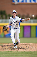 Duke Blue Devils relief pitcher James Ziemba (39) in action against the California Golden Bears at Durham Bulls Athletic Park on February 20, 2016 in Durham, North Carolina.  The Blue Devils defeated the Golden Bears 6-5 in 10 innings.  (Brian Westerholt/Four Seam Images)