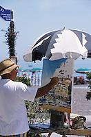 Europe/Italie/Côte Amalfitaine/Campagnie/Positano : Peintre sur le front de mer