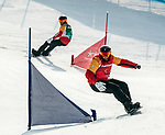 PyeongChang 12/3/2018 - Curt Minard rides against Andrew Genge during the snowboard cross competition at the Jeongseon Alpine Centre during the 2018 Winter Paralympic Games in Pyeongchang, Korea. Photo: Dave Holland/Canadian Paralympic Committee