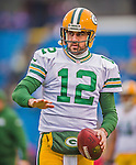 14 December 2014: Green Bay Packers quarterback Aaron Rodgers warms up prior to facing the Buffalo Bills at Ralph Wilson Stadium in Orchard Park, NY. The Bills defeated the Packers 21-13, snapping the Packers' 5-game winning streak and keeping the Bills' 2014 playoff hopes alive. Mandatory Credit: Ed Wolfstein Photo *** RAW (NEF) Image File Available ***