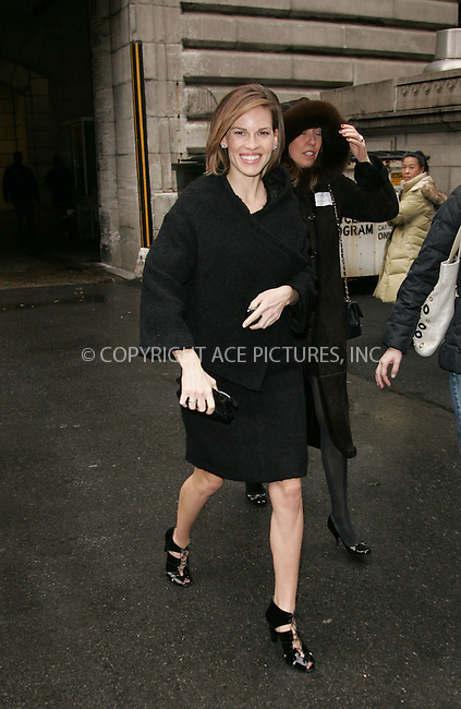 WWW.ACEPIXS.COM . . . . . ....February 4 2008, New York City....Actress Hilary Swank leaving the tents in Bryant Park in Midtown Manhattan during Mercedes-Benz Fashion Week Fall 2008 ....Please byline: DAVID MURPHY - ACEPIXS.COM.. . . . . . ..Ace Pictures, Inc:  ..(646) 769 0430..e-mail: info@acepixs.com..web: http://www.acepixs.com
