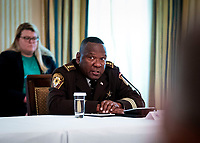 Sheriff Tony Childress of Livingston County, Illinois makes remakes as he participates in a roundtable with law enforcement officials, hosted by United States President Donald J. Trump in the State Dining Room of the White House, in Washington, DC, Monday, June, 8, 2020.<br /> Credit: Doug Mills / Pool via CNP/AdMedia