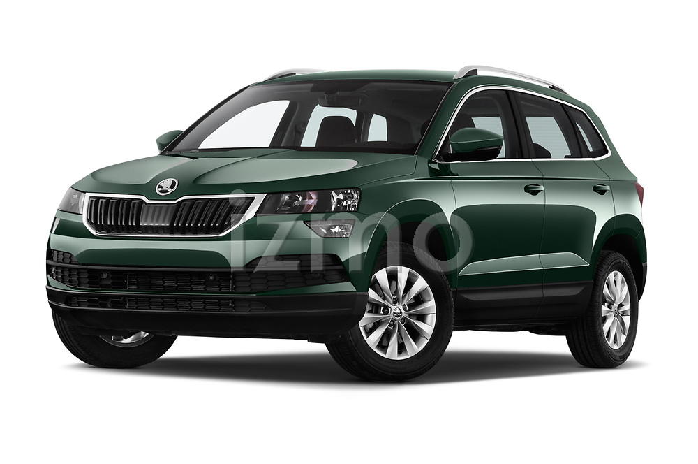 Stock pictures of low aggressive front three quarter view of a 2018 Skoda Karoq Ambition 5 Door SUV