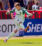 Los Angeles FC goalkeeper Tyler Miller (1) kicks the ball in the first half Saturday, March 10, 2018, during the Major League Soccer game at Rio Tiinto Stadium in Sandy, Utah. LAFC beat RSL 5-1. (© 2018 Douglas C. Pizac)