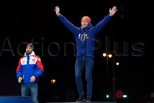 05.03.2016. Oslo Holmenkollen, Oslo, Norway. IBU Biathlon World Cup. Day One.  Sergey Semenov of Ukraine winner of  men 10km at the medal ceremony during the IBU World Championships Biathlon in Holmenkollen Oslo, Norway.