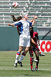 24 July 2005: Iceland's Laufey Olafsdottir (6) challenges U.S. defender Lorrie Fair (occluded) for a header. The United States defeated Iceland 3-0 at the Home Depot Center in Carson, California in a Women's International Friendly soccer match.