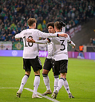 19th November 2019, Frankfurt, Germany; 2020 European Championships qualification, Germany versus Northern Ireland; Germany celebrate their equaliser for 1-1 from Serge Gnabry with Julian Brandt and Jonas Hector