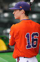 Catcher Jake Fletcher (16) of the Clemson Tigers prior to a game against the South Carolina Gamecocks on Tuesday, March 8, 2011, at Fluor Field in Greenville, S.C.  Photo by Tom Priddy / Four Seam Images