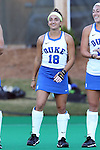 16 October 2015: Duke's Hannah Barreca. The University of North Carolina Tar Heels hosted the Duke University Blue Devils at Francis E. Henry Stadium in Chapel Hill, North Carolina in a 2015 NCAA Division I Field Hockey match. UNC won the game 2-1.