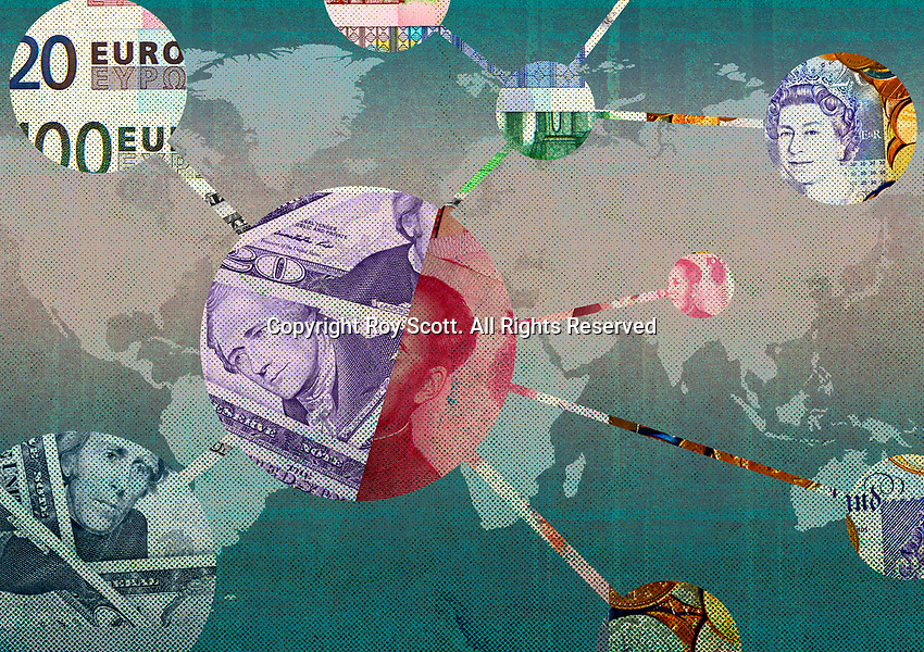 Network of foreign currency connected on world map