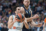 Real Madrid Facundo Campazzo and Fenerbahce Dogus Nicolo Melli during Turkish Airlines Euroleague match between Real Madrid and Fenerbahce Dogus at Wizink Center in Madrid , Spain. March 02, 2018. (ALTERPHOTOS/Borja B.Hojas)