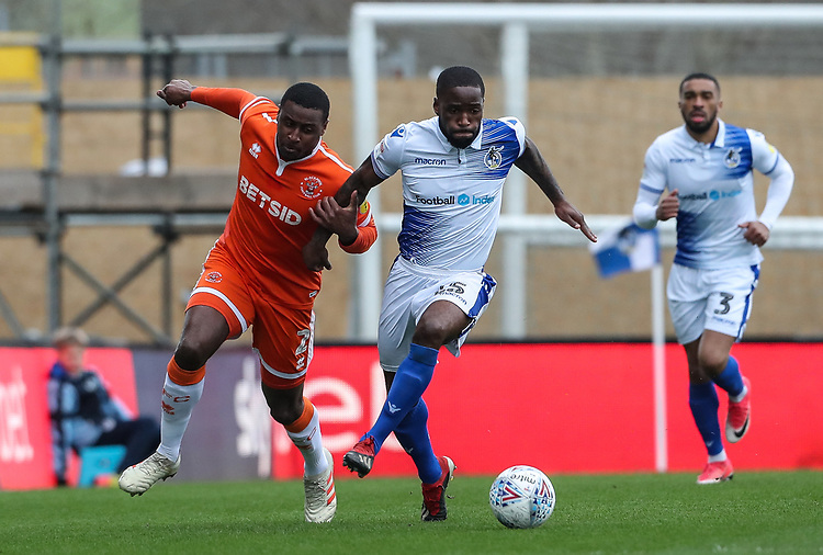 Blackpool's Donervon Daniels competing with Bristol Rovers' Abu Ogogo <br /> <br /> Photographer Andrew Kearns/CameraSport<br /> <br /> The EFL Sky Bet League Two - Bristol Rovers v Blackpool - Saturday 2nd March 2019 - Memorial Stadium - Bristol<br /> <br /> World Copyright © 2019 CameraSport. All rights reserved. 43 Linden Ave. Countesthorpe. Leicester. England. LE8 5PG - Tel: +44 (0) 116 277 4147 - admin@camerasport.com - www.camerasport.com