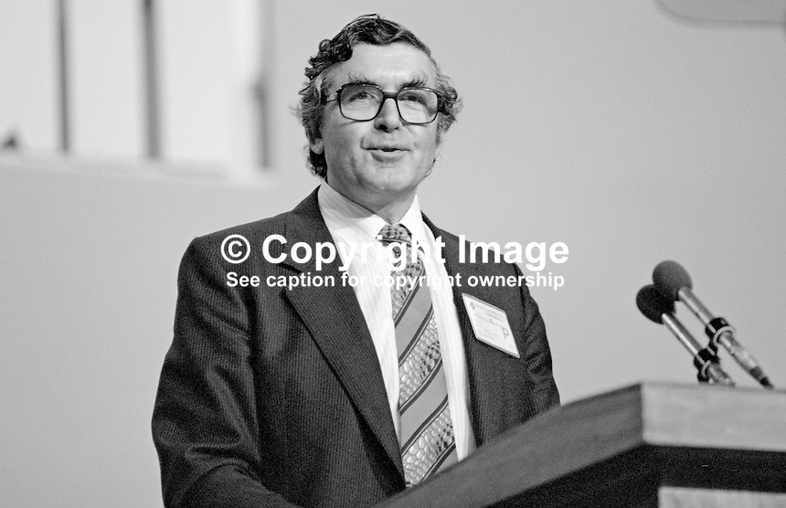 Patrick Jenkin, MP, Secretary of State for the Environment, addressing the 1984 annual conference of the Conservative Party in Brighton. This was the year when there was a Provisional IRA bomb in the Grand Hotel where Cabinet members &amp; other conference VIPs were staying. 19840143PJ3.<br />