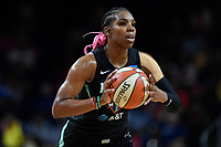 Washington, DC - August 25, 2019: New York Liberty forward Reshanda Gray (12) looks to pass the ball during first half action of game between the New York Liberty and the Washington Mystics at the Entertainment and Sports Arena in Washington, DC. The Mystics defeated New York 101-72. (Photo by Phil Peters/Media Images International)