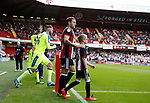 Billy Sharp of Sheffield Utd leads the team out during the Championship match at Bramall Lane, Sheffield. Picture date 26th August 2017. Picture credit should read: Simon Bellis/Sportimage