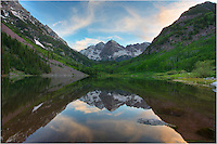 From the Maroon Bells Wilderness area, this Colorado image comes from just after sunset at Maroon Lake. The evening air was perfectly calm and the reflections of the Bells looked like a mirror.