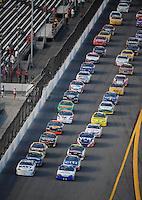 Jul. 4, 2008; Daytona Beach, FL, USA; Nascar Nationwide Series driver Bryan Clauson (40) and Brad Keselowski (88) lead the field to the green flag during the Winn-Dixie 250 at Daytona International Speedway. Mandatory Credit: Mark J. Rebilas-