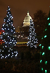 Red white greet lights on Christmas trees with United States Capitol in background Washington D.C., Washington DC at Christmas, Washington, D.C. fine art photography by Ron Bennett ©. Copyright, Fine Art Photography by Ron Bennett, Fine Art, Fine Art photo, Art Photography,