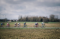 longest rider (at 2m04) in the peloton, Conor Dunne (IRE/Israel Cycling Academy), hiding everybody in his wake<br /> <br />  51th Le Samyn 2019 <br /> Quaregnon to Dour (BEL): 200km<br /> <br /> ©kramon