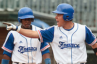 27 july 2010: Boris Marche reacts after a base hit, next to Omar Williams during France 8-2 victory over Belgium, in day 5 of the 2010 European Championship Seniors, in Stuttgart, Germany.