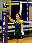 14 November 2010: Vermont Commons School Senior, and team co-captain Leynah McGarghan in action during the 2010 Vermont State Volleyball Championships at Saint Michael's College in Colchester, Vermont. Participating schools included: the Enosburg Falls Hornets, the Lake Region Union Rangers, the Lyndon Institute Vikings, and the VCS Flying Turtles. The Girls Championship went to Vermont Commons School for the third consecutive year, while the Boys Championship went to Lake Region Union High School for the first time. Mandatory Credit: Ed Wolfstein Photo.