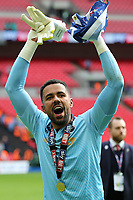 Millwall's Jordan Archer celebrates winning the Division One Play-Off Final during Bradford City vs Millwall, Sky Bet EFL League 1 Play-Off Final at Wembley Stadium on 20th May 2017
