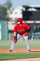AZL Angels catcher Connor Fitzsimons (6) leads off first base during a game against the AZL Indians on August 7, 2017 at Tempe Diablo Stadium in Tempe, Arizona. AZL Indians defeated the AZL Angels 5-3. (Zachary Lucy/Four Seam Images)