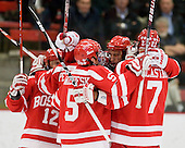 The Terriers celebrate Joe Pereira's (BU - 6) first goal which made it 1-0 BU less than four minutes into the game. - The Boston University Terriers defeated the Harvard University Crimson 6-5 in overtime on Tuesday, November 24, 2009, at Bright Hockey Center in Cambridge, Massachusetts.