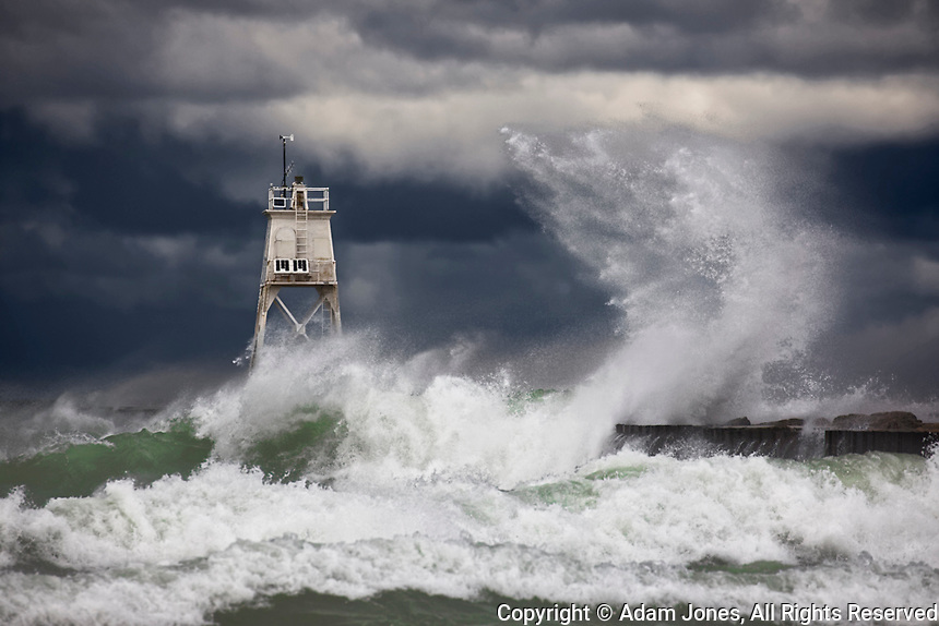 Grand Marais Light and storm driven waves of Lake Superior crashing, Grand Marais, Michigan, Upper Peninsula, UP