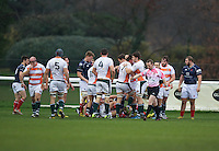 Ealing Trailfinders celebrate their try during the Greene King IPA Championship match between London Scottish Football Club and Ealing Trailfinders at Richmond Athletic Ground, Richmond, United Kingdom on 26 December 2015. Photo by Alan  Stanford / PRiME Media Images