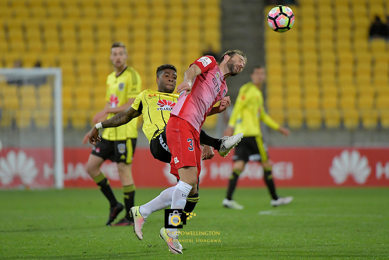 Wellington Phoenix&rsquo;  Rolieny Bonevacia and Melbourne City FC's Joshua Rose in action during the A League - Wellington Phoenix v Melbourne City FC at Westpac Stadium, Wellington, New Zealand on Saturday 8 October 2016.<br /> Photo by Masanori Udagawa. <br /> www.photowellington.photoshelter.com.
