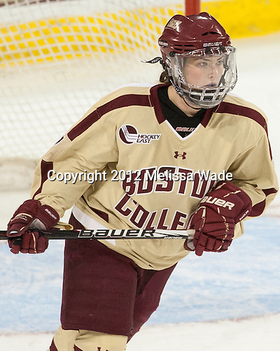 Dru Burns (BC - 7) - The Boston College Eagles defeated the visiting University of Maine Black Bears 10-0 on Saturday, December 1, 2012, at Kelley Rink in Conte Forum in Chestnut Hill, Massachusetts.