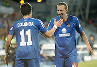 Getafe's Adrian Colunga celebrates with Alexis Ruano during La Liga match. February 01, 2013. (ALTERPHOTOS/Alvaro Hernandez) /NortePhoto