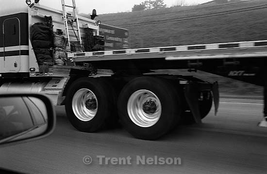 semi truck (series of four shots). Series of photos taken driving from San Ramon to San Francisco 01/08/2003<br />