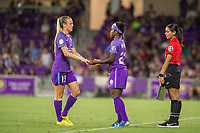 Orlando, FL - Saturday July 15, 2017: Rachel Hill, Jasmyne Spencer during a regular season National Women's Soccer League (NWSL) match between the Orlando Pride and FC Kansas City at Orlando City Stadium.