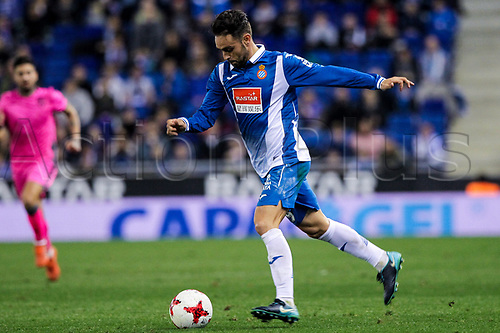 4th January 2018, Cornella-El Prat, Cornella de Llobregat, Barcelona, Spain; Copa del Rey football, round of 16, first leg, Espanyol versus Levante; Spanish forward Sergio Garcia breaks forward