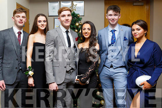 Attending the Gaelcholáiste Chiarrai Debs in the Ballyroe Heights Hotel on Tuesday night last, l-r, Sean Galvin (Rathea), Maeve Trench (Listowel), Jack McKenna (Kilflynn), Ciara Moynihan (Tralee), Ronan Foley (Tralee) and Hannah Stack (Fenit).