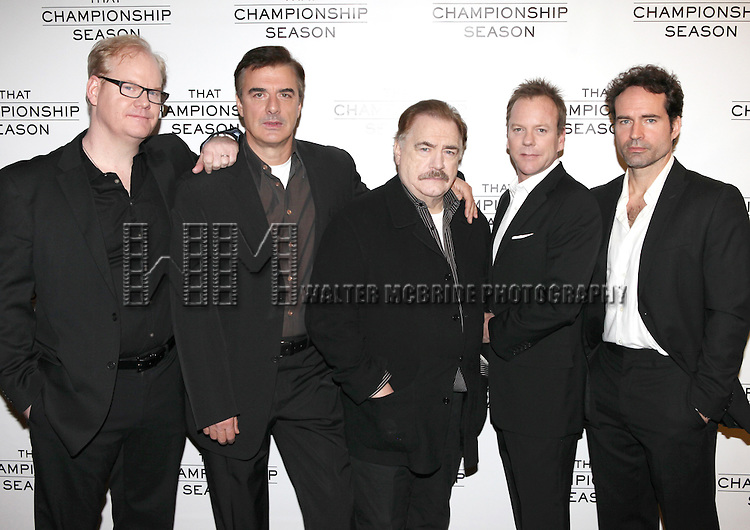 "Jim Gaffigan, Chris Noth, Brian Cox, Kiefer Sutherland, Jason Patric & director Gregory Mosher.attend the Meet & Greet the cast of Broadways ""That Championship Season"" at Sardis' Restaurant in New York City."