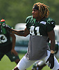 Buster Skrine #41 of the New York Jets stays hydrated during a hot day of training camp at the Atlantic Health Jets Training Center in Florham Park, NJ on Monday, Aug. 6, 2018.