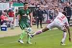 15.04.2018, Weser Stadion, Bremen, GER, 1.FBL, Werder Bremen vs RB Leibzig, im Bild<br /> <br /> Zlatko Junuzovic (Werder Bremen #16)<br /> Bernardo (RB Leipzig #03)<br /> <br /> Foto &copy; nordphoto / Kokenge