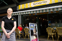 Pictured: 25 year old, Georgia Herbert owner of The Crepe Vine<br /> Friday 03 August 2018<br /> Re: The effect of increasing business rates and internet retail giant Amazon has had on the High Street in Swansea, Wales, UK.