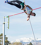 Manogue's Max Crow competes in the boys pole vault during the Reed Sparks Rotary Invitational track and field event at Reed High School in Sparks, Saturday, April 1, 2017.