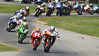 Taylor Knapp leads the field at the start of Sunday's Daytona Sportbike race at the Suzuki Big Kahuna Nationals, Virginia International Raceway, Alton, VA, August 2009. (Photo by Briain Cleary/www.bcpix.com)