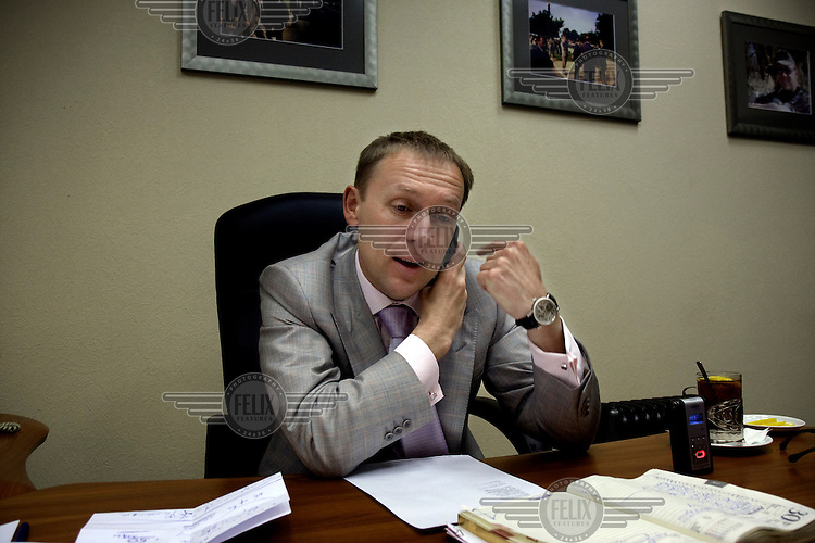 Multi-millionaire businessman Andrei Lugovoy in his office in Moscow. Lugovoy, now a member of the Russian parliament, is the chief suspect in the murder by polonium of former FSB officer Alexander Litvinenko.