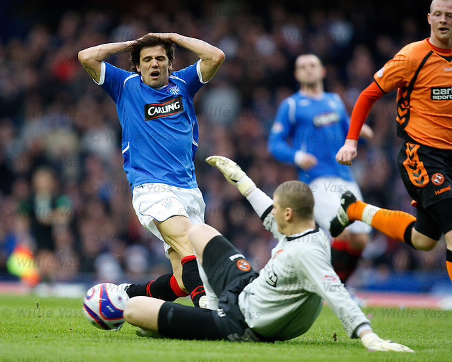 Nacho Novo has his effort saved by keeper Lukasz Zaluska