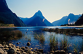 Looking across Freshwater Basin, Milford Sound, to Mitre Peak with Sinbad valley to the left, Fiordland National Park, South Island, New Zealand.